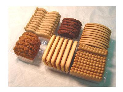 Biscuits collated and grouped